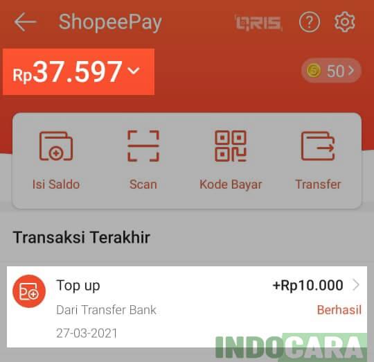 12 Cek Isi Saldo ShopeePay dan Transaksi terakhir - Indocara