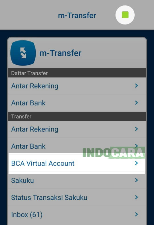 BCA Mobile - Pilih BCA Virtual Account