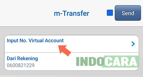 BCA Mobile - Pilih Input No. Virtual Account