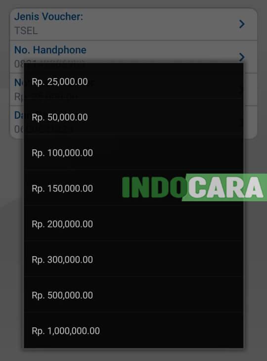 BCA Mobile - Pilih Nominal Voucher - IndoCara