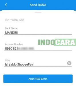 Dana - Pilih Add New Bank - Indocara