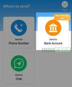 Dana - Pilih Send to Bank Account - Indocara.com