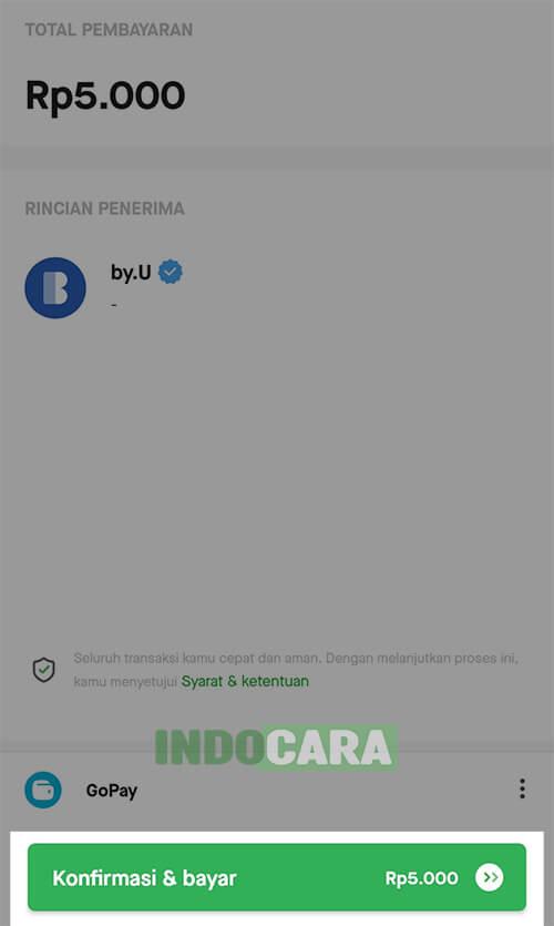 Byu - Isi Pulsa - Pilih Konfirmasi & bayar