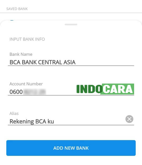 Dana - Send - Masukan Info Bank