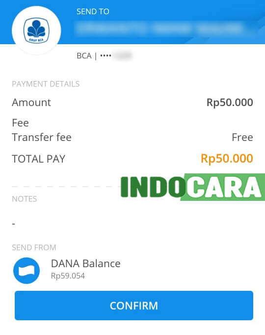 Dana - Send ke BCA - Confirm