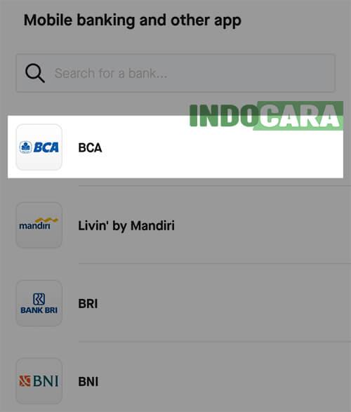 Gopay - Pilih Bank BCA - IndoCara