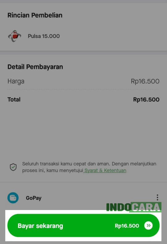Gopay - Pulsa - Pilih Bayar Sekarang