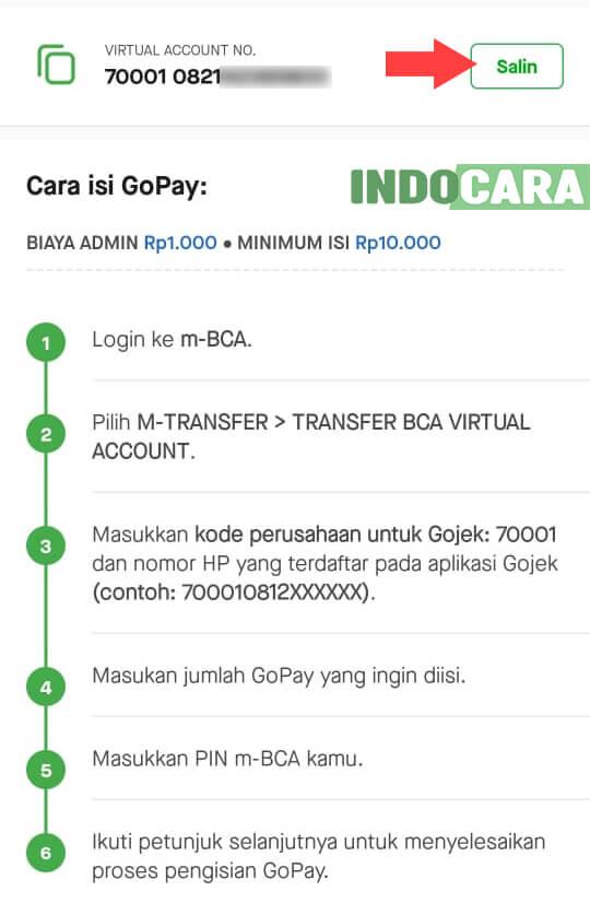 Gopay - Salin Kode VA BCA - IndoCara