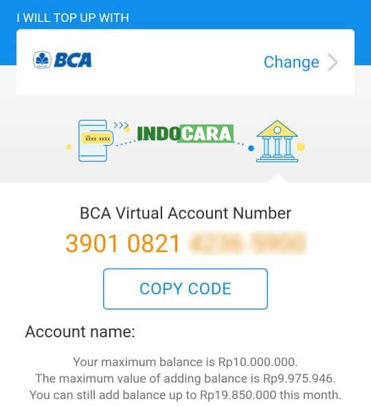 Kode Nomor Virtual Account Dana BCA - IndoCara