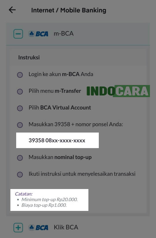 Ovo - Top up - Mobile Banking - Kode Virtual Account