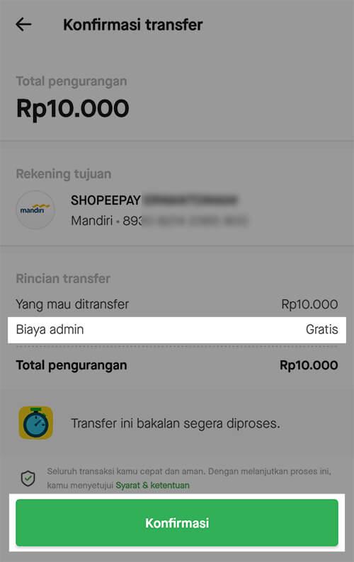 Gopay - Konfirmasi transfer ke ShopeePay