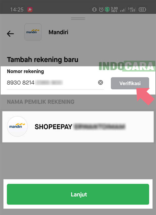 Gopay - Masukan nomor virtual account mandiri shopeepay