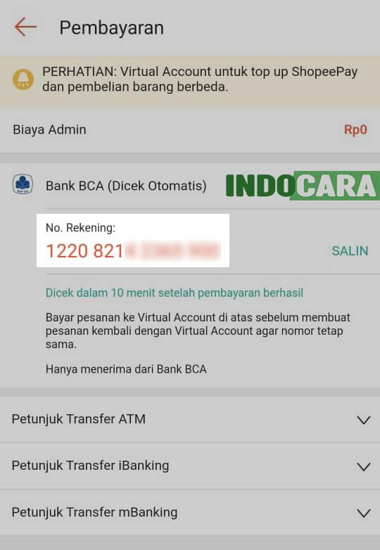 Kode Virtual Account ShopeePay BCA - Indocara