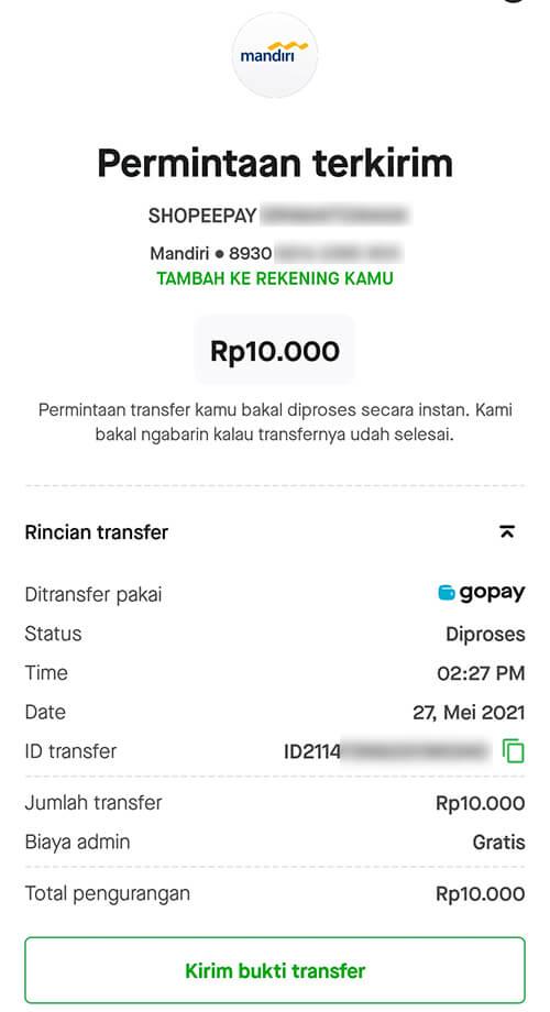 Transfer Saldo dari Gopay Ke ShopeePay Berhasil