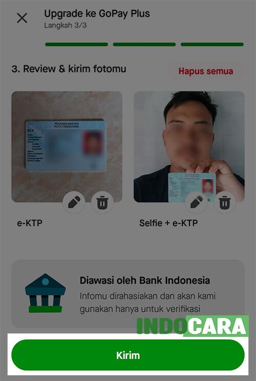 Upgrade Gopay Plus - Kirim Foto selfie dan e-KTP