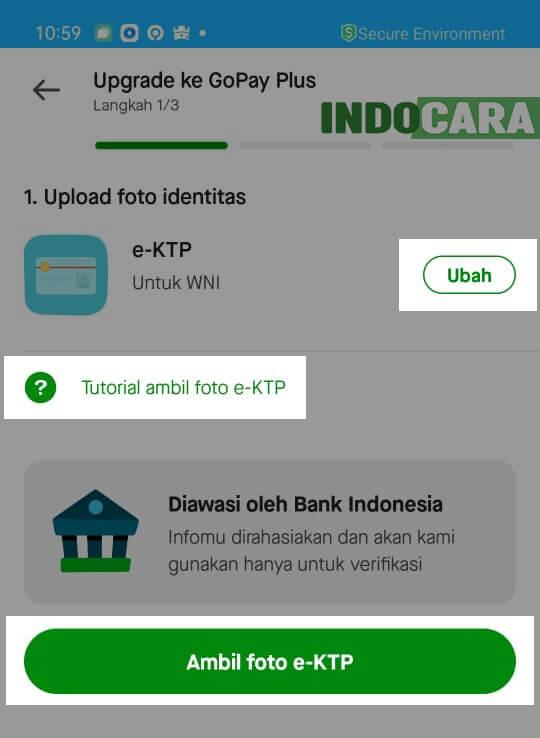 Upgrade ke Gopay Plus - Ambil foto e-KTP