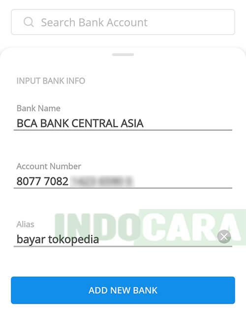 Dana - Send to Bank Account - Input Bank Info