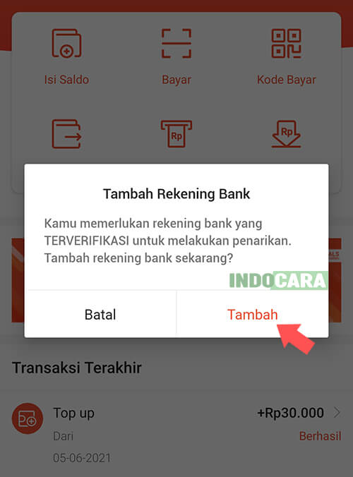 ShopeePay - Tarik Dana - Tambah