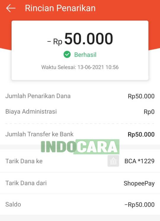 ShopeePay - Tarik Dana ke bank - Berhasil