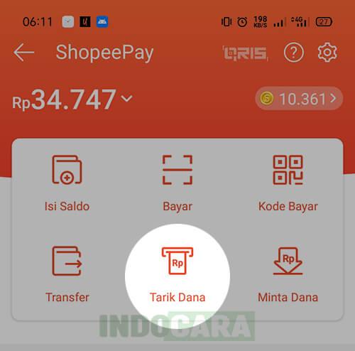 ShopeePay - Tarik Dana