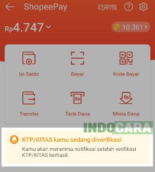 Upgrade ShopeePay Plus - Status KTP kamu sedang diverifikasi