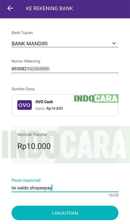 3 OVO - Transfer - Ke Rekening Bank - Pilih Bank Mandiri