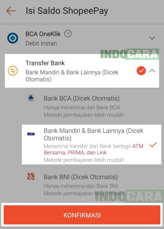 3 Shopee - ShopeePay - Isi Saldo - Transfer Bank