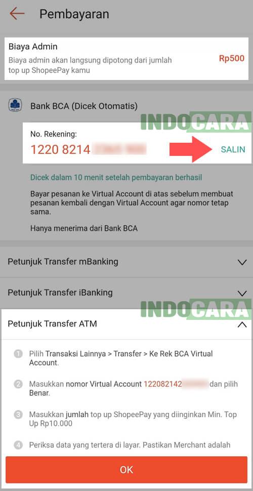 5 Shopee - ShopeePay - Isi Saldo - Transfer Bank - Bank BCA - Salin Kode Virtual Account