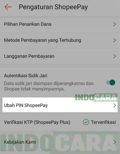 Pengaturan ShopeePay - Ubah PIN ShopeePay
