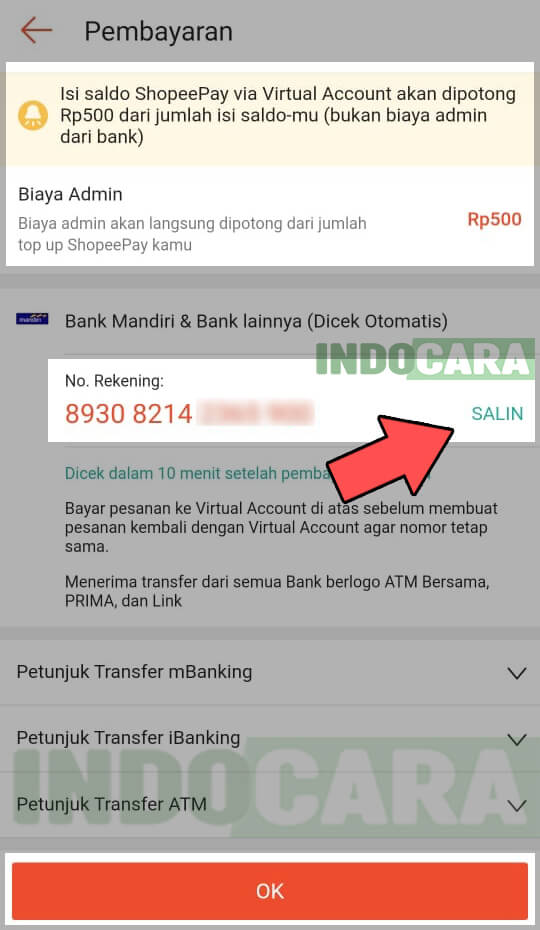 Salin Kode Virtual Account Ban Mandiri ShopeePay Kamu