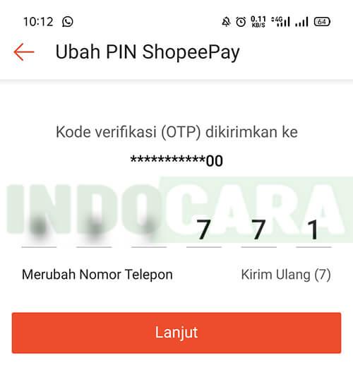 Ubah PIN ShopeePay - Masukan kode OTP