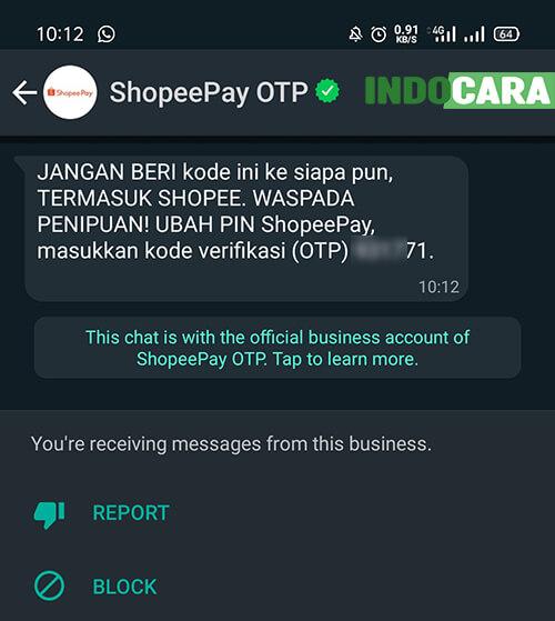 Ubah PIN ShopeePay - WA masuk, Verifikasi OTP