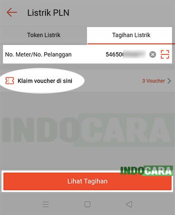 3 Shopee - Pulsa Tagihan dan Hiburan - Listrik PLN - Masukan Nomor Pelanggan PLN