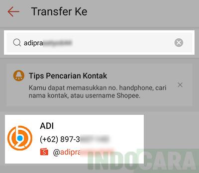 3 Shopee - ShopeePay - Transfer - Masukan no hp atau username