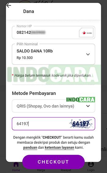 Ahli Pulsa - Dana - Pilih Checkout - Transfer ShopeePay ke Dana