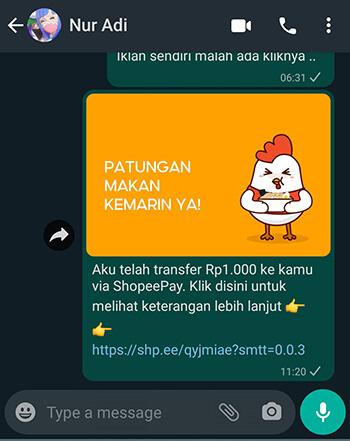 Berhasil Cara Kirim ShopeePay ke Akun ShopeePay Lain - Bagikan ke Whatsapp