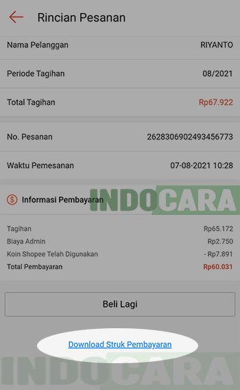 Download Struk Bukti Pembayaran Tagihan Listrik di Shopee - IndoCara