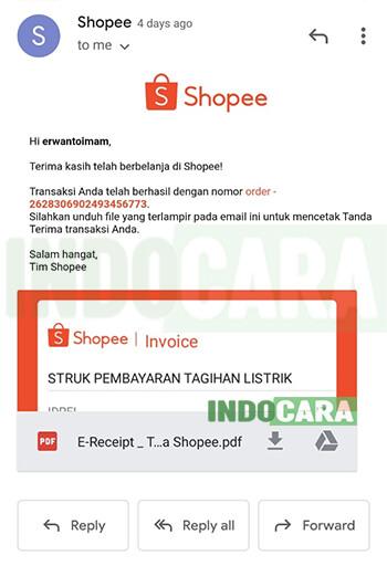 Download Struk Bukti Pembayaran Tagihan Listrik di Shopee Melalui Email- IndoCara
