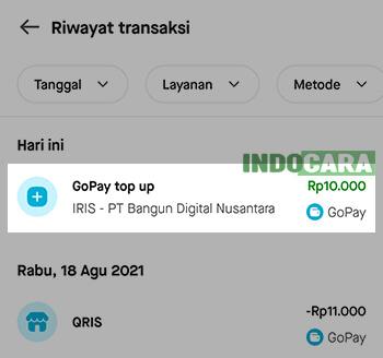Gopay - Riwayat - Isi Saldo Gopay Lewat ShopeePay Ahlipulsa