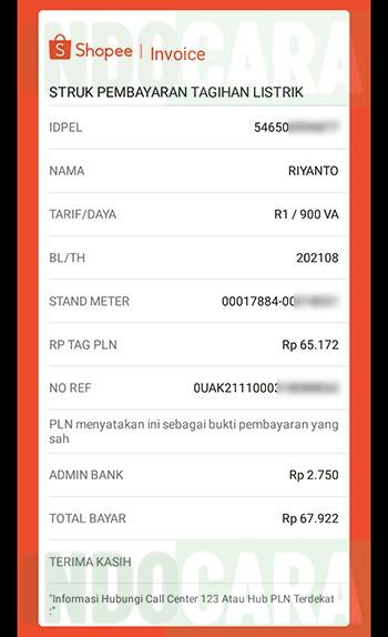 Invoice Bukti Struk Pembayaran Tagihan Listrik PLN Pascabayar Shopee - IndoCara