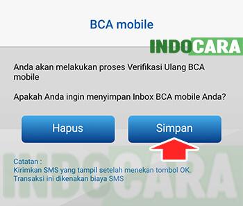 Apakah ingin menyimpan Inbox BCA Mobile - Pilih Simpan