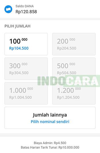 Dana - Pilih Jumlah Nominal Saldo untuk Penarikan Tunai Dana ke ATM BCA