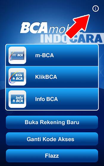 Dimana Menu About pada BCA Mobile - Pada halaman utama pilih icon i di pojok kanan atas
