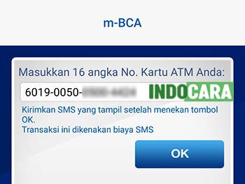 Masukan 16 angka Nomor Kartu ATM BCA Anda