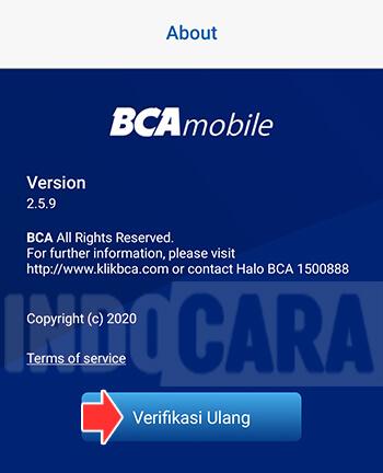 Pilih Verifikasi Ulang pada halaman About di BCA Mobile