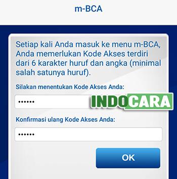 Verifikasi Ulang BCA Mobile melalui Menu About Berhasil - Masukan Kode Akses